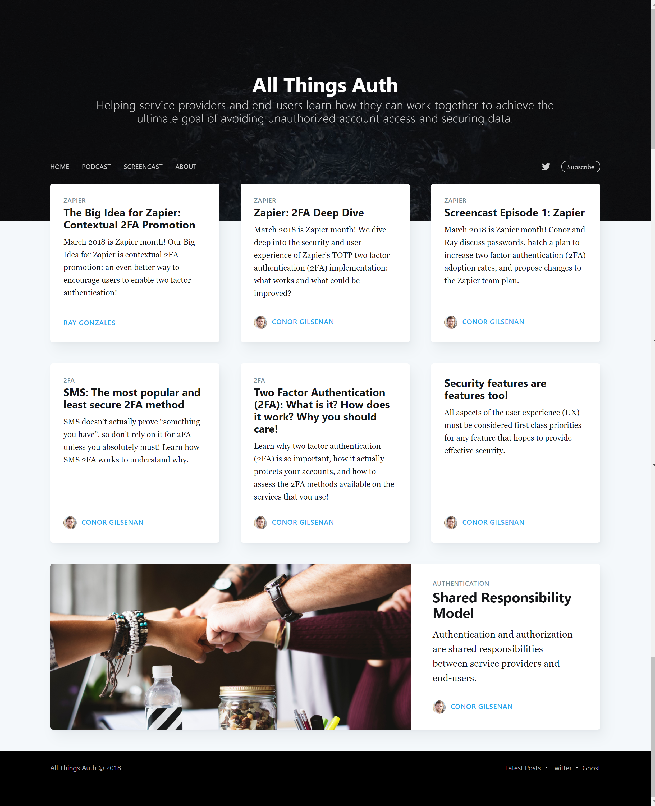 The All Things Auth website, currently using the default template.