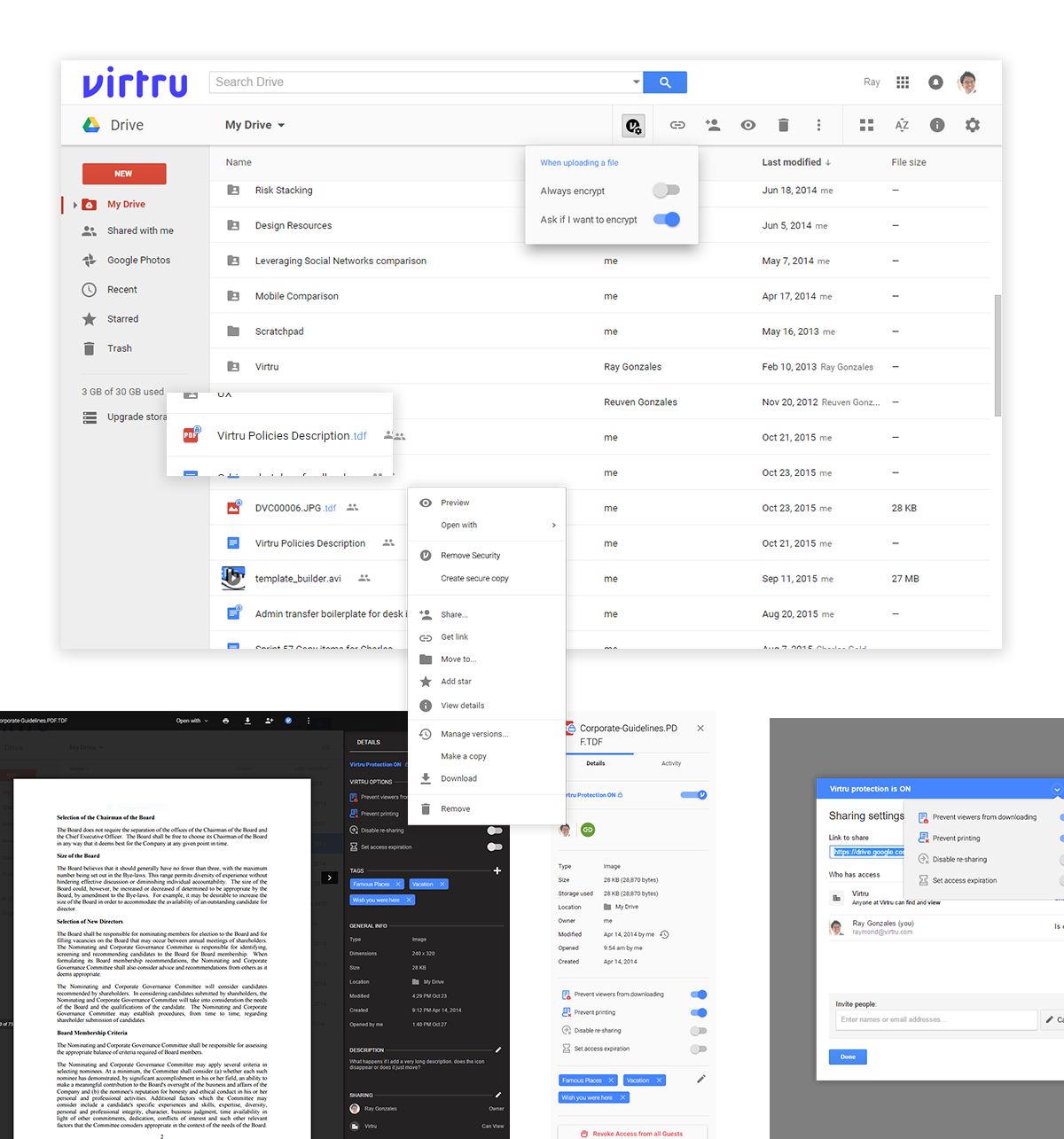 High fidelity mockups for various aspects of the Virtru Drive experience
