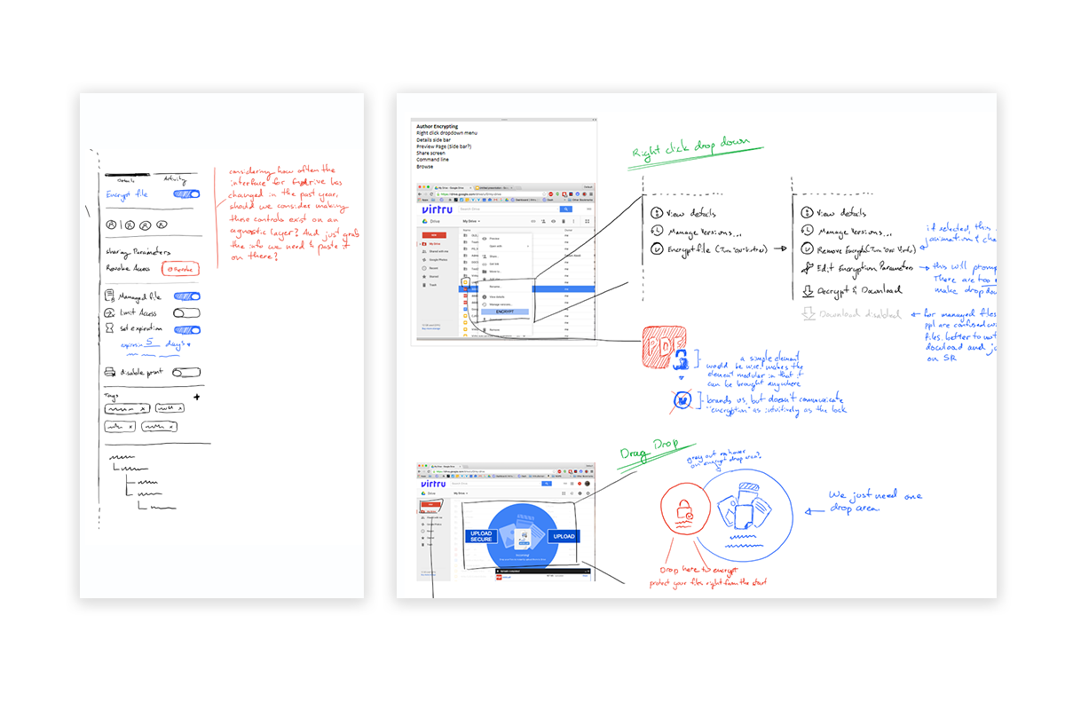 Early sketches for managing security options, and encrypting new files