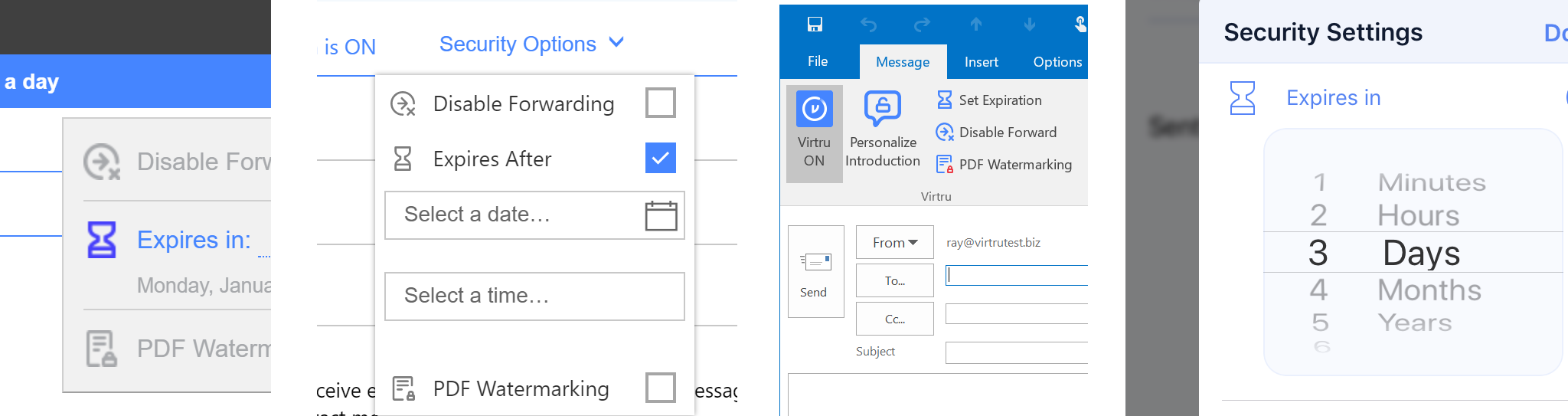 Certain elements had to be recognizeable across integrations. Here is an example of how Virtru's iconography carried across different email clients. From left to right: Gmail, Outlook Web App, Outlook 2016, iOS app.